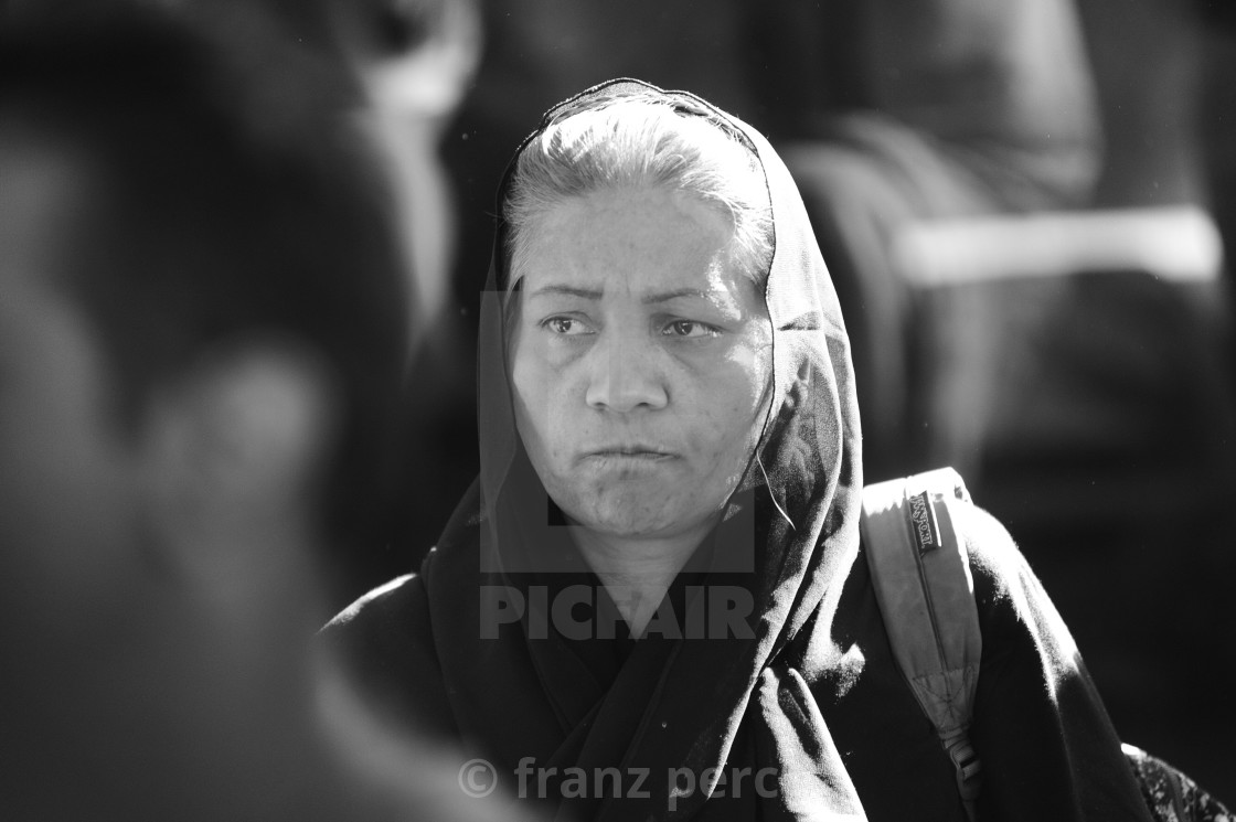 """Refugees at the Westbahnhof in Vienna are waiting for the journey to Germany"" stock image"